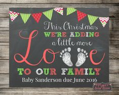 Printable Baby / Pregnancy Announcement - This Christmas We're Adding A Litt. - New baby - Schwanger Baby Announcement To Parents, Christmas Baby Announcement, Baby Announcement Photos, New Baby Announcements, Erwarten Baby, Baby Due, 2nd Baby, Second Baby, Second Pregnancy