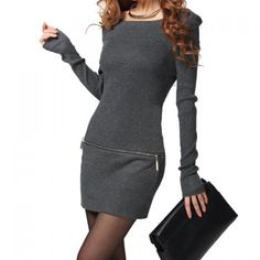 Chic Style Boat Neck Solid Color Long Sleeve Zipper Design Cotton Blend Dress For Women