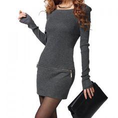 Boat Neck Solid Color Long Sleeve Zipper Design Cotton Blend Dress, GRAY, ONE SIZE in Sweater Dresses | DressLily.com