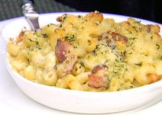 Grown Up Mac and Cheese from FoodNetwork.com-  This recipe is really delish!  I replaced the white bread with panko bread crumbs and it was really crunchy and yummy.  We forgot the basil but think that would have added a unique touch.