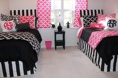 hot pink and black dorm room bedding design matching dorm room #dormroom2014 designer dorm ideas bold dorm room www.decor-2-ur-door.com