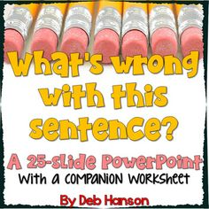 What's wrong with this sentence? Powerpoint to analyze writing Teaching Grammar, Grammar Lessons, Teaching Writing, Writing Activities, Teaching English, Writing Classes, Writing Lessons, Speech And Language, Language Arts