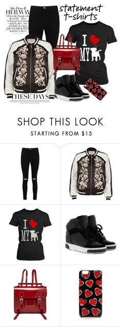 """Statement T-shirts"" by janie-xox ❤ liked on Polyvore featuring Boohoo, River Island, MICHAEL Michael Kors, The Cambridge Satchel Company and statementtshirt"