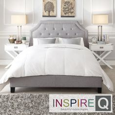 INSPIRE Q Grace Grey Linen Button Tufted Arched Bridge Platform Bed