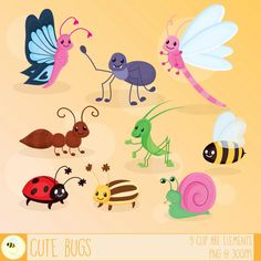 With these cute #insects, you can make your next birthday invitation a bit more adorable. This #cute #bug #clipart set is available to buy for just $5.00 in my Etsy shop.