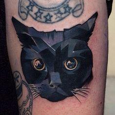 Geometric Cat Head Tattoo images