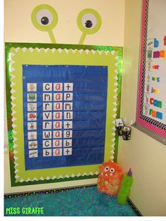 Classroom set up ideas kindergarten pocket chart center perfect for a monster theme classroom area w Classroom Setting, New Classroom, Classroom Themes, Disney Classroom, Classroom Hacks, Classroom Design, Monster Theme Classroom, Monster Bulletin Boards, Phonics Bulletin Board