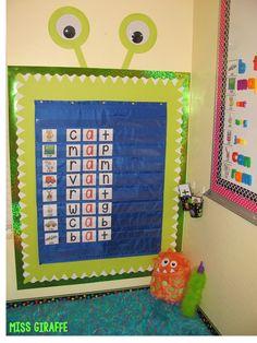 Classroom set up ideas kindergarten pocket chart center perfect for a monster theme classroom area w Monster Theme Classroom, New Classroom, Classroom Setting, Preschool Classroom, Classroom Themes, Classroom Organization, Monster Bulletin Boards, Phonics Bulletin Board, Disney Classroom
