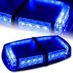 Emergency Hazard Warning Beacon Rooftop Strobe Revolving Light 8W 72 LED with Magnetic Base for Cars and Trucks 12V,Blue