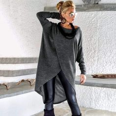 Winter Wool Tunic / Boucle Winter Warm Tunic / Winter Blouse / Plus Size Top / Long Sleeve Wool Top / Oversize Loose Blouse / Look Fashion, Winter Fashion, Womens Fashion, Dress Fashion, Top Oversize, Oversize Pullover, Winter Blouses, Modelos Plus Size, Plus Size Blouses