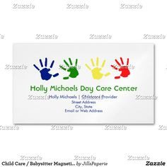 Shop Child Care / Babysitter Magnetic Business Cards created by JillsPaperie.