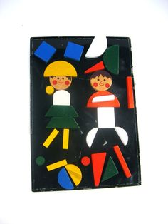 Vintage Magnet Toy Wooden Blocks with Black Magnet by LarkspurLace, $11.95