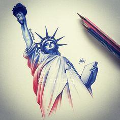 Statue of Liberty colored pencils art Statue Of Liberty Drawing, Statue Of Liberty Tattoo, Badass Tattoos, Love Tattoos, Couple Drawings, Art Drawings, Pencil Drawings, Statues, New York Tattoo