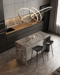 Comfort Town on Behance Kitchen Room Design, Luxury Kitchen Design, Contemporary Kitchen Design, Home Decor Kitchen, Modern Interior Design, Interior Design Kitchen, Kitchen Furniture, Furniture Design, Interior Decorating