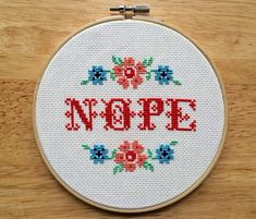 Nope Finished Framed Subversive Funny Cross Stitch Wall Hoop Art