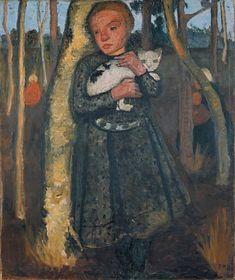 Girl in a Birch Wood with a Cat, 1904 Paula Modersohn-Becker (1876–1907) Paula Modersohn Becker, Louisiana Museum, Female Painters, Art Japonais, Art Prints For Sale, Art Graphique, Paul Klee, Museum Of Modern Art, Artist Art