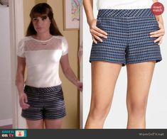 Rachel's blue patterned shorts on Glee.  Outfit Details: http://wornontv.net/43389/ #Glee