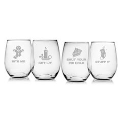 Crotchety Christmas Assortment Stemless Wine Glass (Set of (Crotchety Christmas Assortment Stemless Wine Clear, Susquehanna Glass Etched Wine Glasses, Wine Glass Set, Painted Wine Glasses, Etched Glass, Glass Etching Designs, Christmas Wine Glasses, Drinking Glass, 3 D, Juice