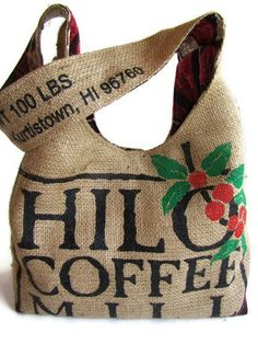 Repurposed Burlap Coffee Bag Hilo Hawaii Hobo by ManilaExtract, $65.00