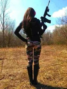 I want these Camouflage leggings..and I'll take that gun too.