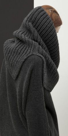 """Heavy-gauge knit blended from Italian alpaca yarns composes a substantial snood perfect for throwing over your favorite dress, jacket or tee no matter what the weather throws at you. A partially split """"chunky"""" Cowl Scarf, Knitting Accessories, Knit Fashion, Fashion 101, Knitted Shawls, Loom Knitting, Knitwear, Knit Crochet, Knitting Patterns"""