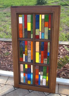 "Stained Glass Mosaic Window Wood ""Vertiglo B"" Repurpose Vintage  Cabinet Door. $175.00, via Etsy."