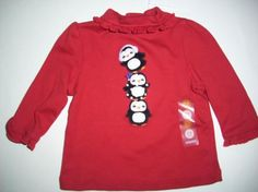 NWT Gymboree Winter Penguin Shirt Girls 3-6 Months Free Shipping