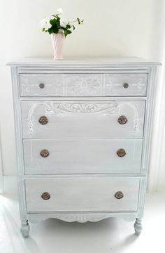 Sold**Gray Painted Shabby Chic Dresser, Gray Vintage Dresser Distressed, Hand  Painted