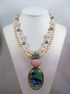 Fresh Water Pearl Abalone & Rose Quartz by LinspiredJewelry, $600.00