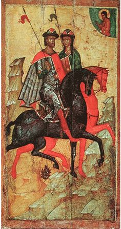 Ikon of Saints Boris and Gleb on Horseback by an unknown artist, second half of… Byzantine Icons, Byzantine Art, Russian Icons, Russian Art, Russian Style, Religious Icons, Religious Art, Religious Images, Russian Painting