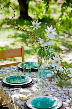 Turquoise side plates - pretty splash of colour