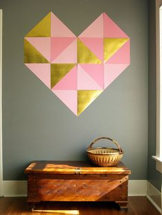 The DIY decor looks super hip, but still Valentine's Day appropriate, hung directly on a neutral wall.