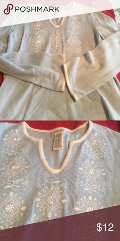 St John's Bay sweater Light blue, 8% Angora, sweater. Trimmed v-neck.  mint condition no balling on sweater. Worn once. St. John's Bay Sweaters V-Necks