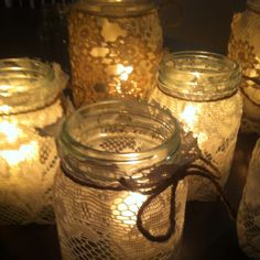 masonjar with doilies and candle inside Candleholders, Candle Jars, Candles, Our Wedding, Dream Wedding, Wedding Ideas, Lace Mason Jars, Decor Ideas, Gift Ideas