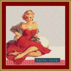 Hello Love Cross Stitch Pattern by Avalon Cross Stitch on Etsy