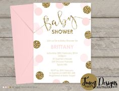 Pink and Gold Baby Shower Invitations, Printable Baby Shower Invitations, Confetti Baby Sprinkle Invitations