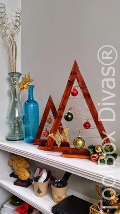How to guide on making this wooden ornament tree: A Crate & Barrel Hack #DIY #Christmas #Christmasdecorations #Christmasdecor #Christmastree @toolboxdivas