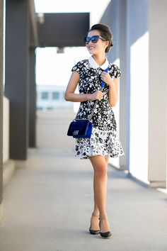 Joy :: DVF & CASA    Floral dress and ballet flats with ankle strap. Obsessing for sure over this blue Chanel shoulder bag