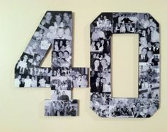 Custom Alphabet Collage Numbers for Milestone Birthdays, 40th Birthday Gift, 50th Wedding Anniversary