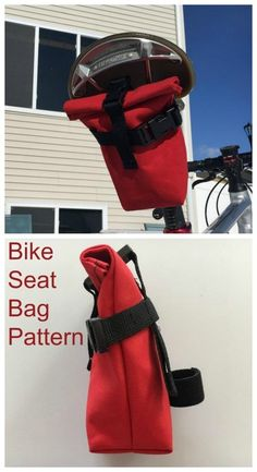 Genius bag to sew for cyclists. Small bag that fits under the bike seat so it's safe and secure and not in the way, but gives added storage or a bike to keep all your bits and pieces. Great stocking stuffer gift idea to sew for cyclists and kids. Bike Seat Bag, Bike Frame Bag, Bicycle Bag, Bag Patterns To Sew, Sewing Patterns, Patchwork Bags, Bicycle Accessories, Simple Bags, Girls Sneakers