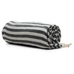 Striped Black Beach Towel | Old Faithful Shop ($20-50) ❤ liked on Polyvore