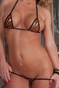 Bitsy'S Bikinis Black Mesh/Orange Zebra Micro G-String Bikini 2Pc Triangle Top