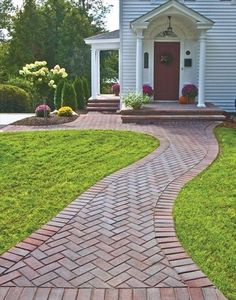 59 Trendy Ideas For Brick Patio Steps Herringbone Pattern Brick Pathway, Brick Pavers, Front Walkway, Brick Steps, Paver Walkway, Pavers Patio, Door Steps, Patio Steps, Brick Sidewalk