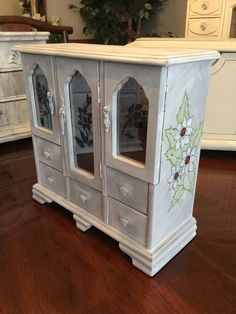 Shabby Chic Jewelry Box // Painted Jewelry Box //Upcycled Vintage Armoire by ByeByBirdieDesigns on Etsy https://www.etsy.com/listing/464903198/shabby-chic-jewelry-box-painted-jewelry