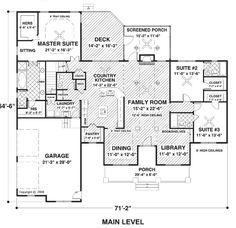 First Floor Plan of Country Ranch House Plan 74834