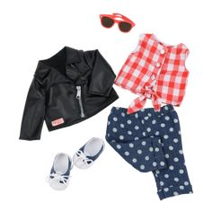 Back to Cool retro Outfit for 18-inch Dolls American Girl Doll Room, American Girl Furniture, American Girl Clothes, Girl Doll Clothes, Girl Dolls, Pet Clothes, Our Generation Doll Accessories, Our Generation Doll Clothes, Poupées Our Generation