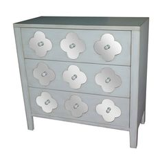 Hartley Soft White 3 Drawer with Mirror Pattern Chest Crestview Collection