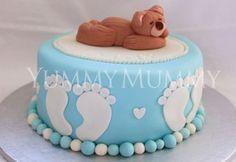 YM Teddy Footprint Baby Shower Cake