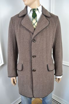 VINTAGE 1950's GREY BURTON ENGLISH MADE WOOL OVERCOAT COAT LARGE