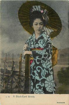 Japan 1908 Japanese Girl Umbrella Traditional Costume